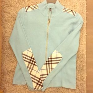 Burberry Baby Blue Zip Up Sweater | Tartan Details